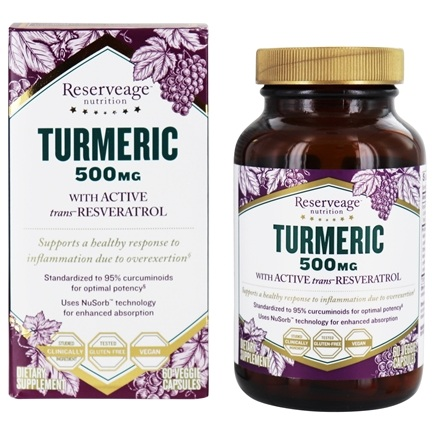 Buy Reserveage Nutrition Turmeric With Active Resveratrol 500 Mg