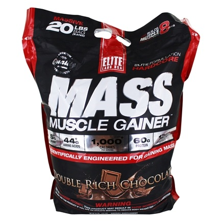 Elite Labs USA - Mass Muscle Gainer Double Rich Chocolate - 20 lbs.