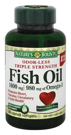 Buy nature 39 s bounty odor less triple strength fish oil for Fish oil 1400 mg