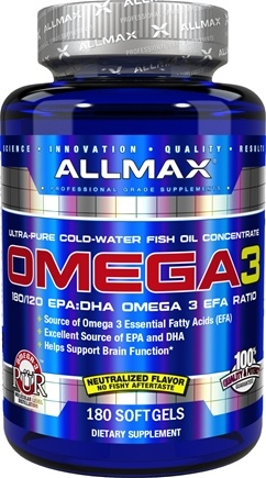 Buy allmax nutrition omega 3 cold water ultra pure fish oil allmax nutrition omega 3 cold water ultra pure fish oil concentrate 180 malvernweather Image collections
