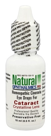 Natural Ophthalmics - Cataract Crystalline Lens Homeopathic Eye Drops - 0.5 oz.