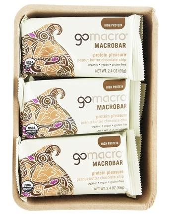 GoMacro - Organic MacroBar Protein Pleasure Bars Box Peanut Butter Chocolate Chip - 12 Bars