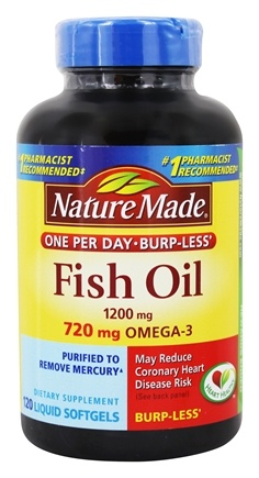 Buy nature made fish oil one per day burp less 1200 mg for Cla vs fish oil