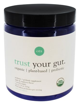 Ora - Trust Your Gut Organic Vegan Probiotic Powder +Prebiotics Apple & Raspberry - 7.9 oz.