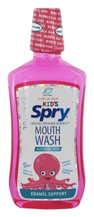 Xlear - Spry Kid's Alcohol-Free Mouthwash Enamel Support Bubble Gum - 16 fl. oz.