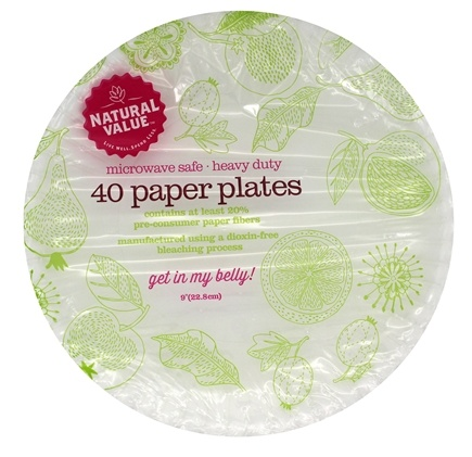 DROPPED Natural Value - Microwave Safe Heavy Duty Paper Plates - 40 Count  sc 1 st  LuckyVitamin & Buy Natural Value - Microwave Safe Heavy Duty Paper Plates - 40 ...