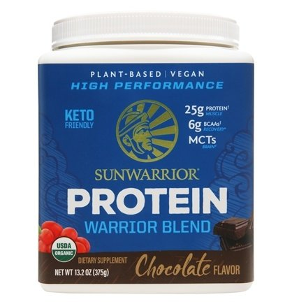 Sunwarrior - Warrior Blend Plant-Based Organic High Performance Protein Powder Chocolate - 375 Grams