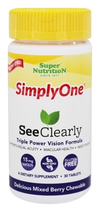 Super Nutrition - Simply One See Clearly Triple Power Vision Formula Delicious Mixed Berry - 30 Chewable Tablets