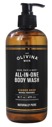 DROPPED: Olivina Men - Natural Fragrance Hair, Face & Body All In One Body Wash Ginger Beer - 16 fl. oz.