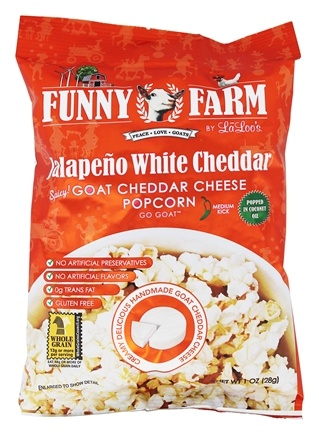 Dropped Funny Farm Goat Cheddar Cheese Popcorn Jalapeno White 1 Oz