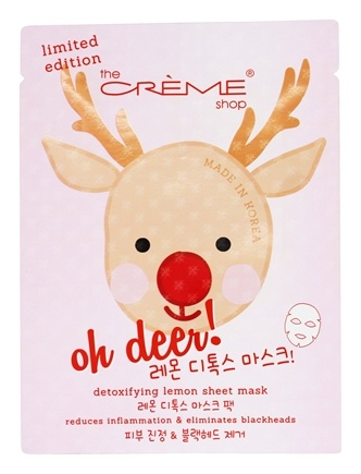 Oh Deer! Holiday Detoxifying Lemon Face Sheet Mask - 1 Count Limited  Edition by The Creme Shop