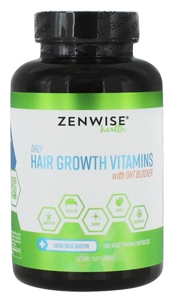 Hair Growth Vitamins >> Daily Hair Growth Vitamins With Dht Blocker 120 Vegetarian Capsuleszenwise Health