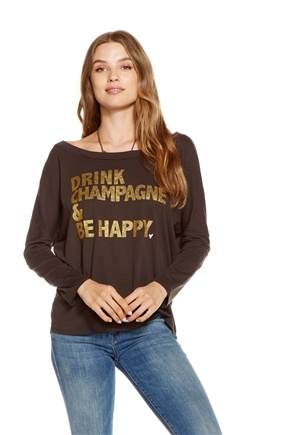 Chaser - Happy Champagne Jersey Dolman Long Sleeve Pullover Shirt Union Black - Small