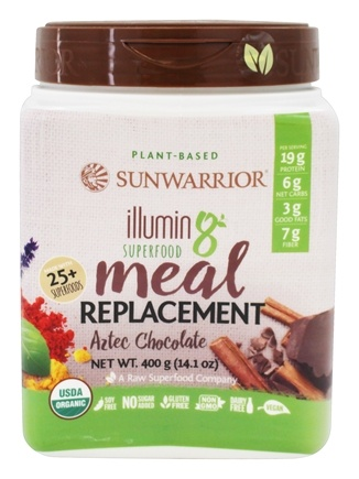 Sunwarrior - Illumin8 Superfood Plant-Based Meal Replacement Powder Aztec Chocolate - 14.1 oz.