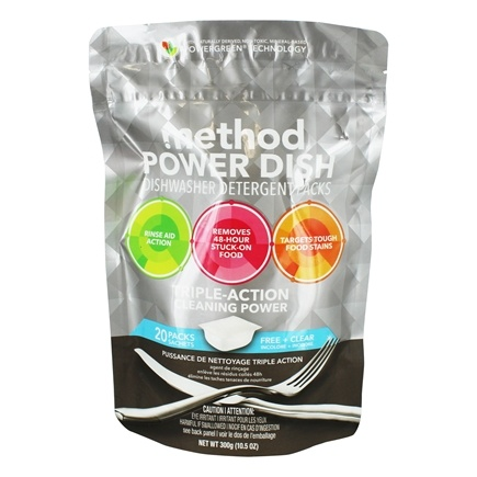 Method - Power Dish Dishwasher Detergent Packs Triple Action Cleaning Power Free + Clear - 20 Pack