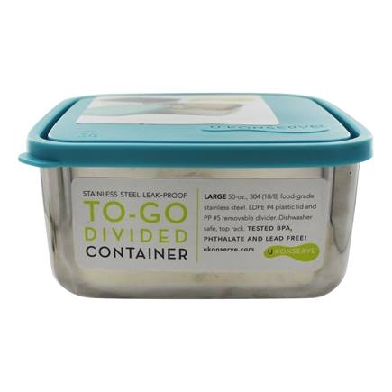 U Konserve - Stainless Steel Large Square To-Go Divided Container with Leak Proof Lid Sky Blue - 50 oz.
