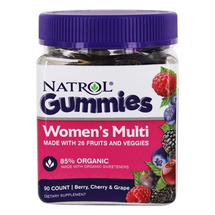 DROPPED: Natrol - Women's Multi Gummies 85% Organic Berry, Cherry & Grape - 90 Gummies