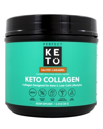 Perfect Keto - Collagen Keto-Friendly Protein Source Powder Salted Caramel - 11.2 oz.