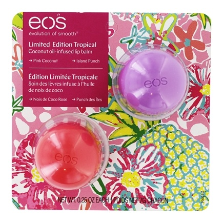 EOS Evolution of Smooth - Coconut Oil Infused Sphere Lip Balms Pink Coconut & Island Punch - 2 Count Limited Edition