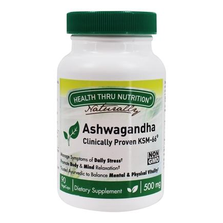 Health Thru Nutrition - Ashwagandha Clinically Proven KSM-66 500 mg. - 90 Vegetable Capsule(s)