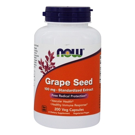 NOW Foods - Grape Seed Antioxidant Standardized Extract 100 mg. - 200 Vegetarian Capsules