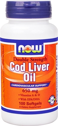 DROPPED: NOW Foods - Cod Liver Oil Double Strength 650 mg. - 100 Softgels