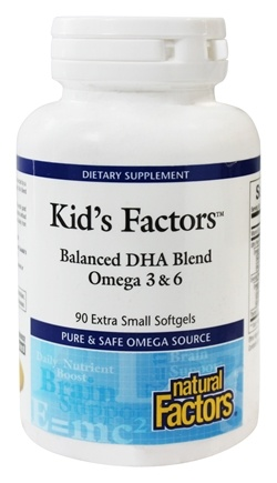 DROPPED: Natural Factors - Kid's Factors Balanced DHA Blend Omega 3 & 6 - 90 Softgels Formerly Learning Factors