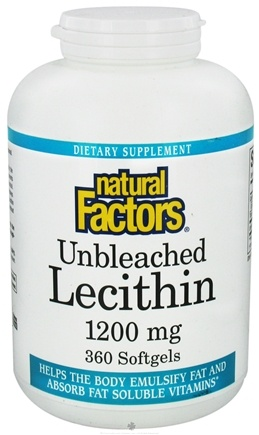 DROPPED: Natural Factors - Lecithin Unbleached 1200 mg. - 360 Softgels