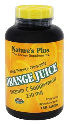 DROPPED: Nature's Plus - Orange Juice Chewable Vitamin C 250 mg. - 180 Chewable Tablets