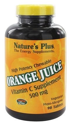 DROPPED: Nature's Plus - Orange Juice Chewable Vitamin C 500 mg. - 90 Chewable Tablets