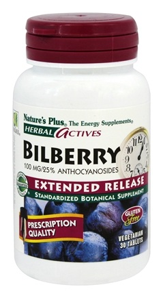 DROPPED: Nature's Plus - Herbal Actives Bilberry Extended Release 100 mg. - 30 Tablets