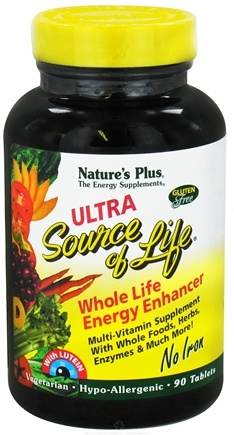 DROPPED: Nature's Plus - Ultra Source Of Life With Lutein No Iron - 90 Tablets CLEARANCE PRICED