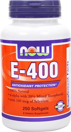 DROPPED: NOW Foods - E400 20% Mixed + Selenium - 250 Softgels
