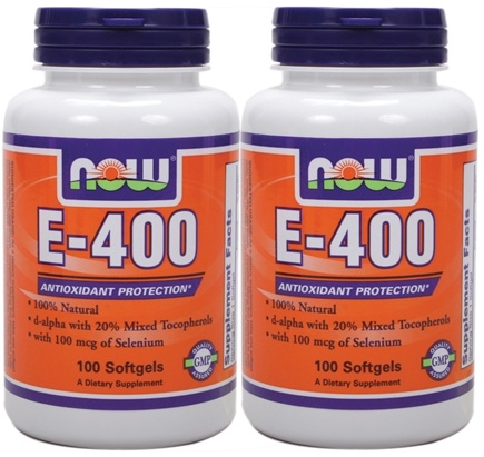 DROPPED: NOW Foods - E400 Mixed Tocopherols + Selenium (100+100) Twin Pack Special - 200 Softgels