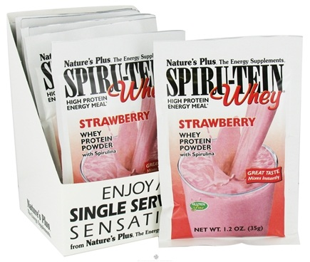 DROPPED: Nature's Plus - Spiru-Tein WHEY High Protein Energy Meal Strawberry - 1 Packet CLEARANCE PRICED
