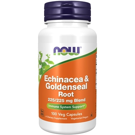 NOW Foods - Echinacea and Goldenseal Root 225 mg. - 100 Capsules