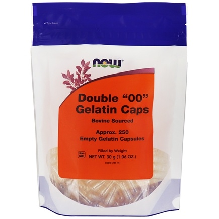 NOW Foods - Gelatin Empty Capsules Double '00' Size - 250 Gelcaps