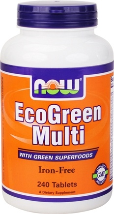 DROPPED: NOW Foods - Eco-Green Multi with Green Superfoods Iron-Free - 240 Tablets