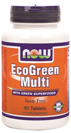DROPPED: NOW Foods - Eco-Green Multi with Green Superfoods Iron-Free - 60 Tablets CLEARANCE PRICED