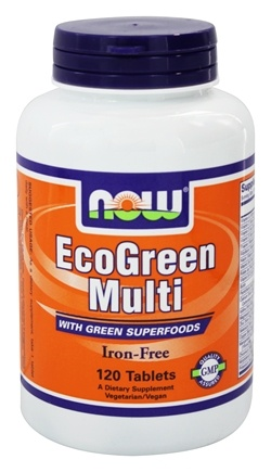 DROPPED: NOW Foods - Eco-Green Multi with Green Superfoods Iron-Free - 120 Tablets