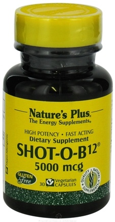 DROPPED: Nature's Plus - Shot-O-B12 5000 mcg. - 30 Vegetarian Capsules