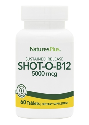 Nature's Plus - Shot-O-B12 Sustained Release 5000 mcg. - 60 Tablets