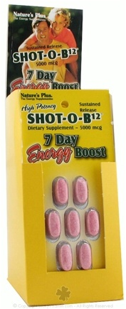 DROPPED: Nature's Plus - Shot-O-B12 7 Day Energy Boost for Daily Useage 5000 mcg. - 7 Tablets