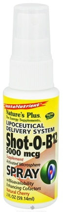 DROPPED: Nature's Plus - Shot-O-B12 Spray Lipoceutical Delivery System Natural Cherry 5000 mcg. - 2 oz.