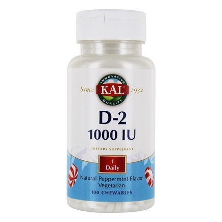 Kal - Vitamin D-2 Natural Peppermint Flavor 1000 IU - 100 Chewables