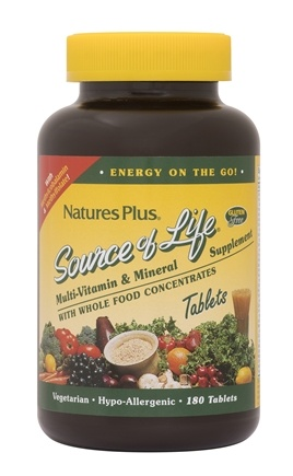 Natures Plus - Source Of Life Multi-Vitamin & Mineral Supplement with Whole Food Concentrates - 180 Tablets