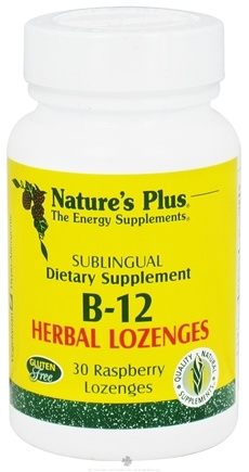DROPPED: Nature's Plus - Vitamin B12 Herbal Lozenges Raspberry - 30 Lozenges CLEARANCE PRICED