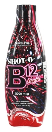 Natures Plus - Liquilicious Shot-O-B12 Liquid Cherry Burst 5000 mcg. - 30 fl. oz.