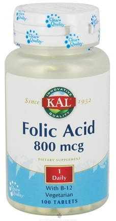 DROPPED: Kal - Folic Acid with B12 800 mcg. - 100 Tablets