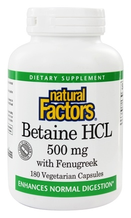 Natural Factors - Betaine Hydrochloride (HCL) - 180 Capsules